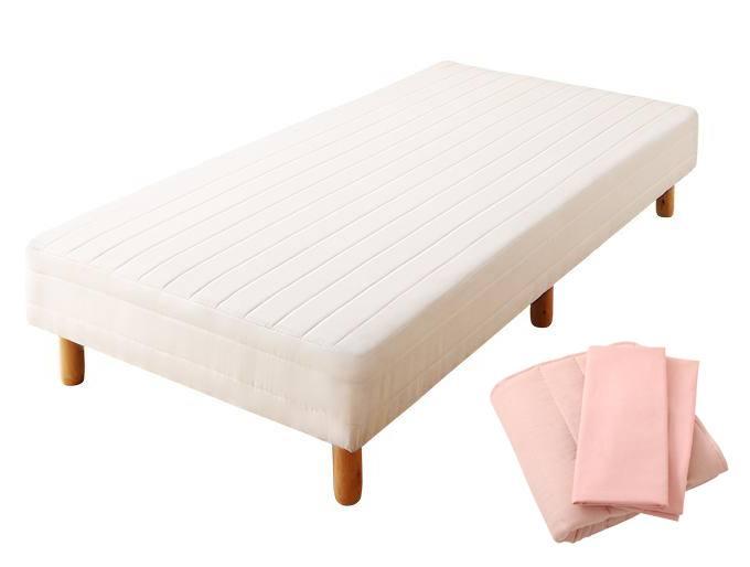 搬入・組立・簡単 コンパクト 分割式 脚付きマットレスベッド ボンネルコイル お買い得ベッドパッド・シーツセット付き セミシングル ショート丈 脚22cm