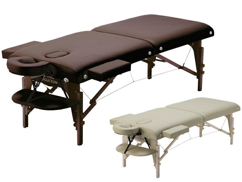 【送料無料】高級低反発ワイド木製折りたたみベッド【ダークブラウン/ベージュ】