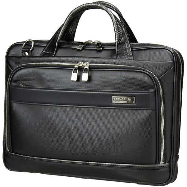 BERMAS バーマス  M.I.J MADE IN JAPAN ビジネス 2way ビジネス ブリーフケース ショルダーバッグ A4 38cm 薄マチ 日本製 豊岡鞄 ブラック 60035-BK