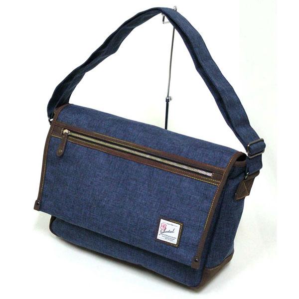 十川鞄 B.C.+ISHUTAL イシュタル ケーテン フラップ ショルダーバッグ Lサイズ ネイビー IKT-7503-NV