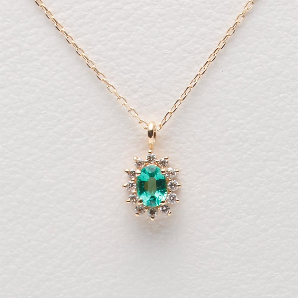 エメラルド ネックレス/Color Jewels ペンダント エメラルド K10