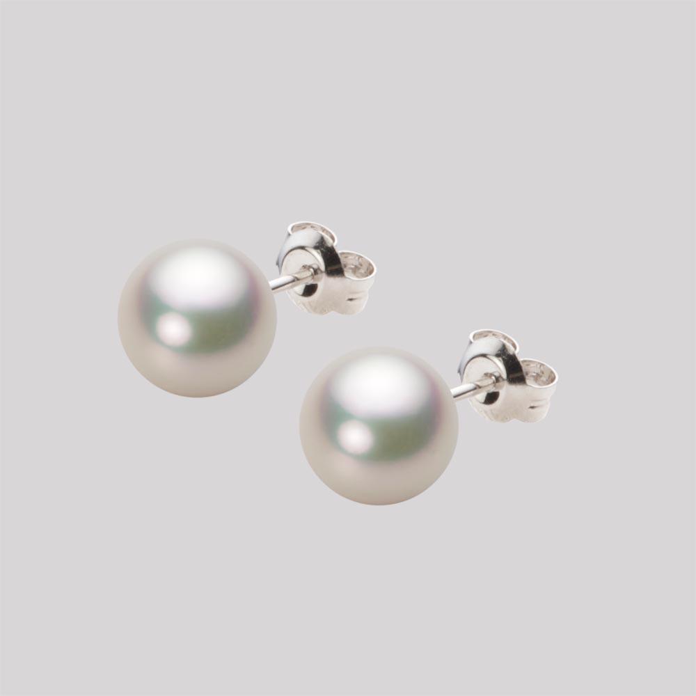 パールピアス/7.5mm アコヤ 真珠 ピアス K14WG ホワイトゴールド