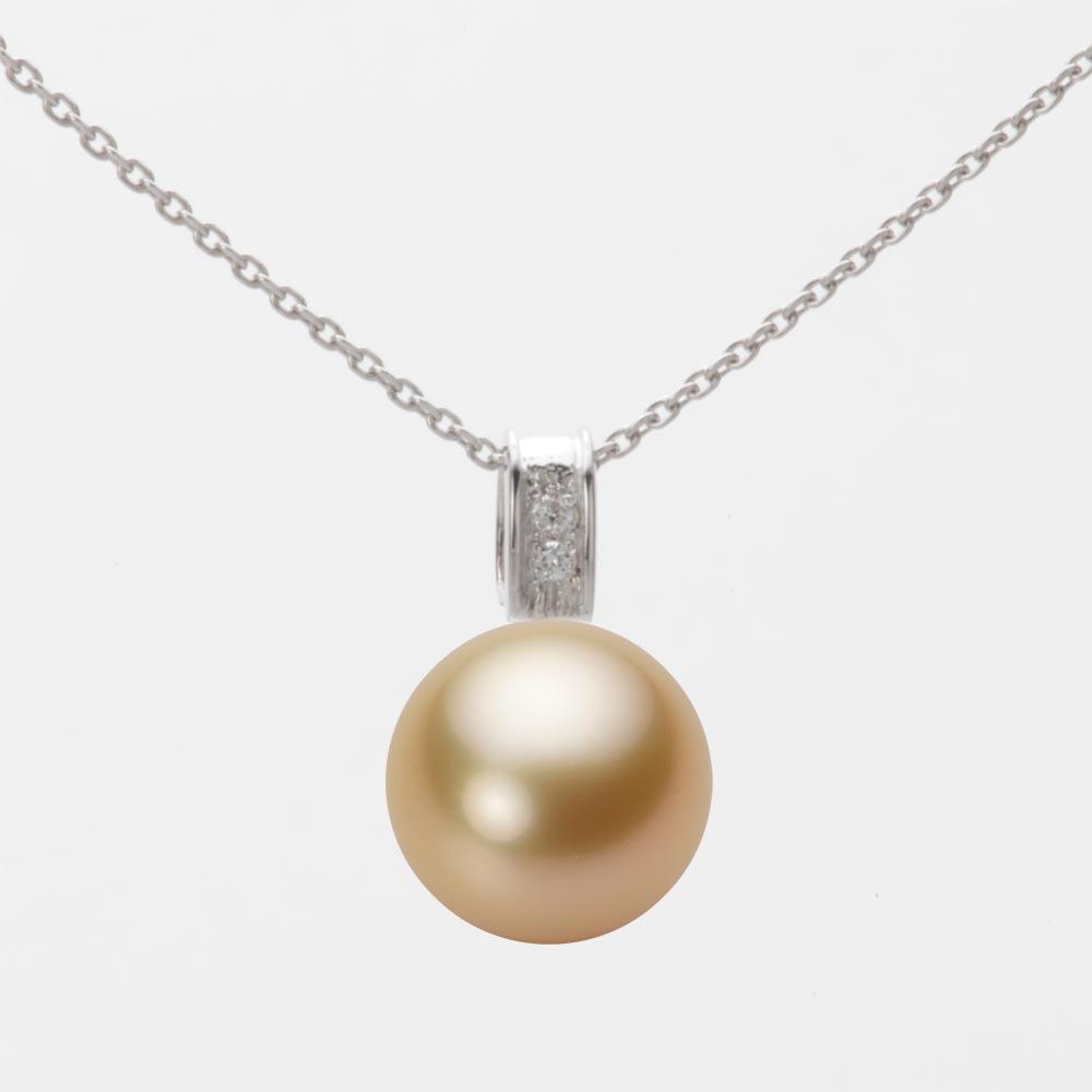 パールネックレス/10mm 白蝶 真珠 ペンダント K18WG ホワイトゴールド