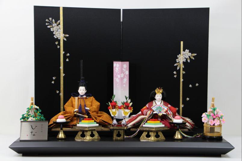 京三五正絹黄櫨有職ひな人形手書き桜黒シルキー屏風平飾り