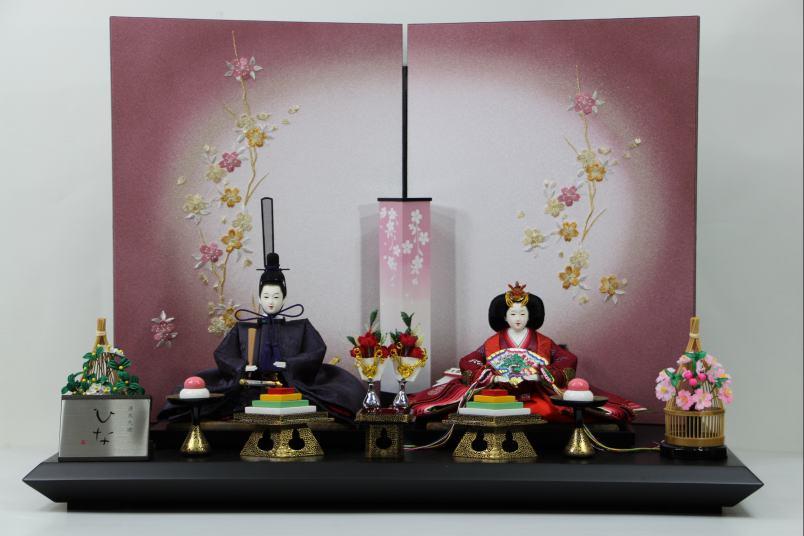 京三五正絹上紺紫親王ひな人形桜刺繍紫ボカシ屏風平飾り