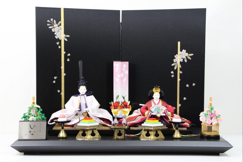 京三五正絹上ひな人形9-9手書き桜黒シルキー屏風平飾り