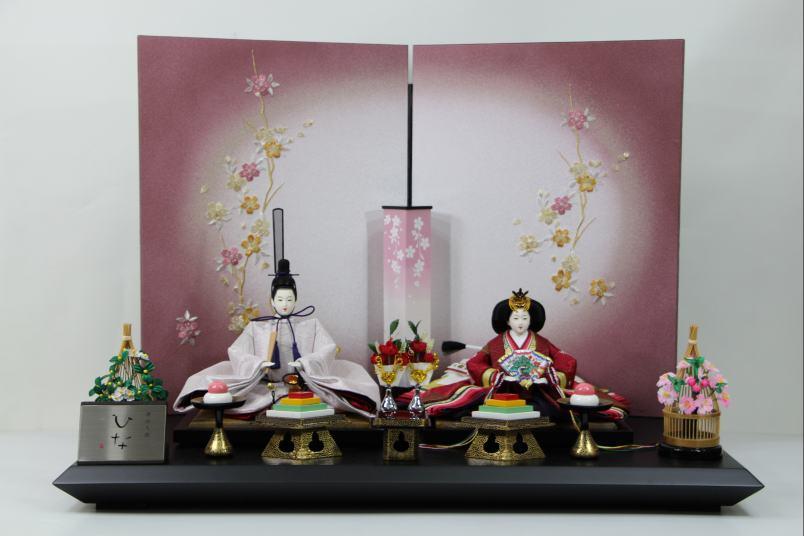 京三五正絹上ひな人形9-9桜刺繍紫ボカシ屏風平飾り
