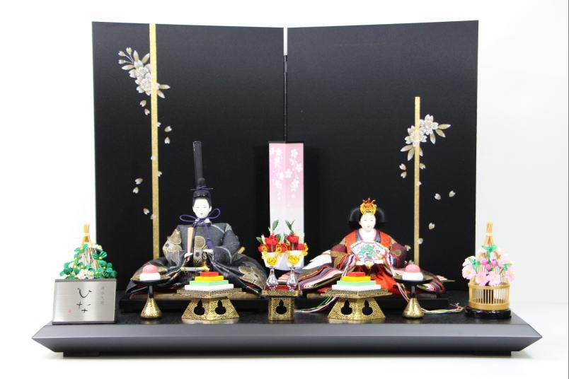 京三五正絹帯地ひな人形手書き桜黒シルキー屏風平飾り