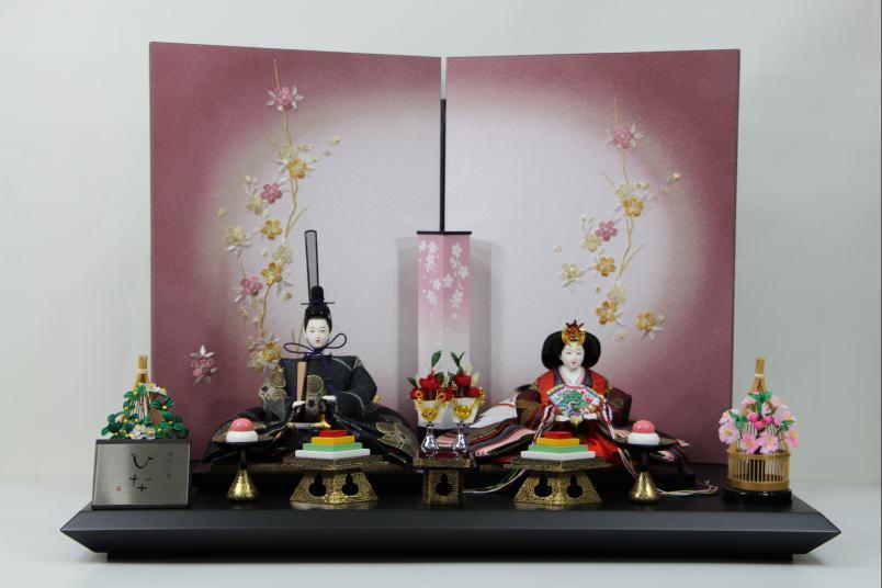 京三五正絹帯地ひな人形桜刺繍紫ボカシ屏風平飾り
