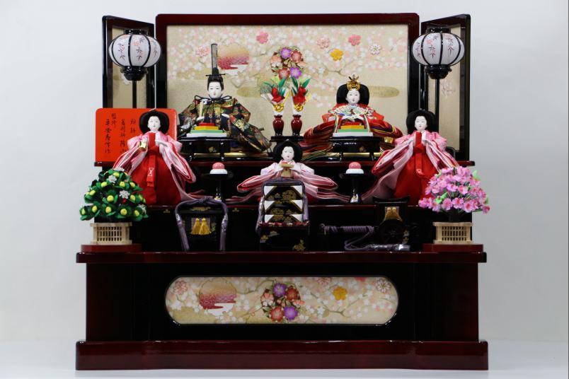 歓喜雛歓喜雛雪輪桜にカスミ9号屏風五人三段収納飾り【雛人形三段飾り】