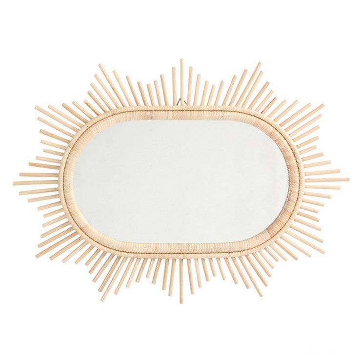 サンフラワーラタン ラタン サンミラー 星型70×50 Q17915ND  ナチュラル 壁掛け式鏡 ミラー約44×25cm【籐 ラタン】[ナチュラル ヴィンテージ]【代引き不可】