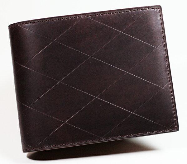 コードバン 二つ折り 財布 カノヤマ製  素上げコードバン 小銭入れ付き札入れ