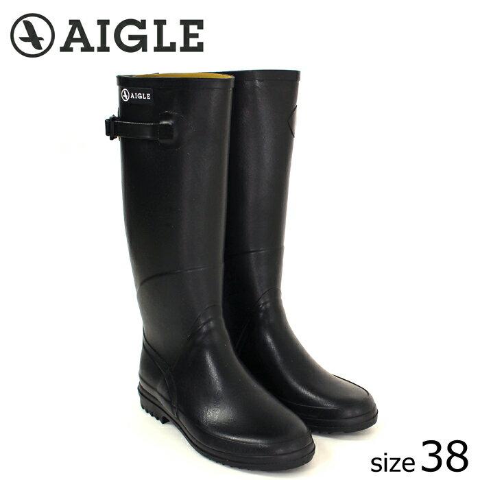 ?正規品? AIGLE/エーグル ラバーブーツ CHANTEBELLE (NOIR/サイズ38:24.0) ロング レインブーツ ノワール