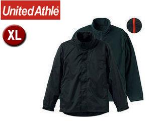 UnitedAthle/ユナイテッドアスレ ナイロン・フリース 3WAYスタンドジャケット(フードイン) 【XL】 (ブラック×レッド)