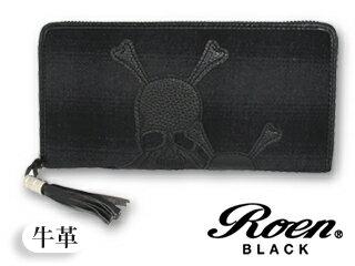 Roen BLACK/ロエンブラック スカル/ラウンドジップ長財布■カウレザー■Roen BLACK/ロエンブラック
