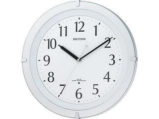 RHYTHM/リズム時計 8MY460SR03 【リバライトF460SR】 電波掛時計 白半艶仕上(白)/夜眠る秒針/夜間自動点灯ライト付