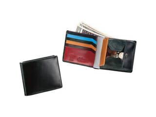 ブリティッシュグリーン ダブルブライドルレザー 二つ折り財布 マルチカラー/ブラック/10680001