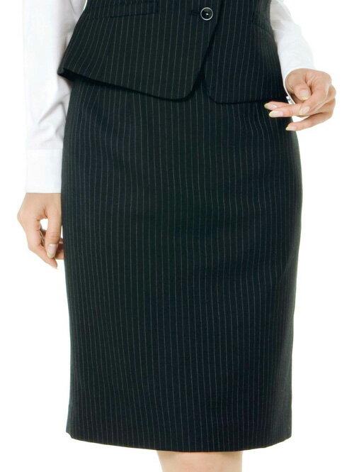 【5400円以上ご購入で送料無料】事務服 シャンブレークロスストライプ 【スカート】 (フィットタイプ) KAH-EAS149-510