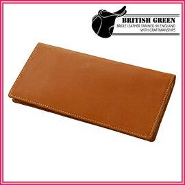 ■送料無料■ブリティッシュグリーン ブライドルレザー長札財布 ブラウン 英国製高級ブライドルレザーを使用した薄型長札財布