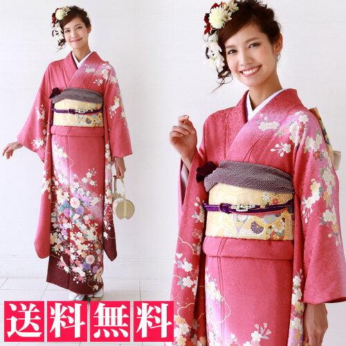 正絹 振袖 レンタル 成人式 セット 20点フルセット 「ピンク 赤 桜 撫子」成人式から結婚式やフォーマルまで 着物 kimono フリソデ ふりそで rental れんたる せいじんしき セイジンシキ着物レンタル 貸衣装