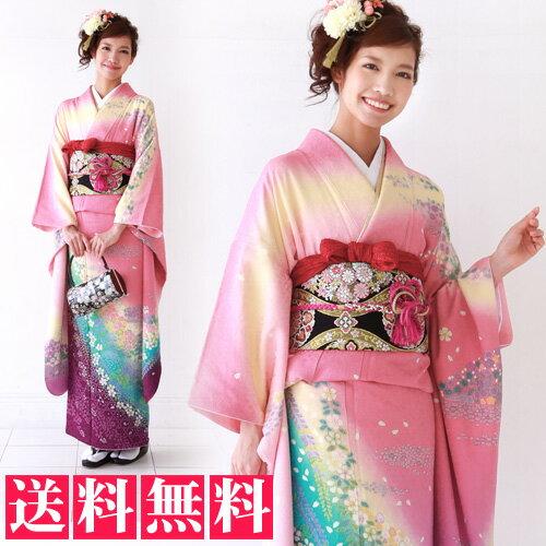 正絹 振袖 レンタル 成人式 セット 20点フルセット 「ピンク 青 紫 花 桜」成人式から結婚式やフォーマルまで 着物 kimono フリソデ ふりそで rental れんたる せいじんしき セイジンシキ着物レンタル 貸衣装