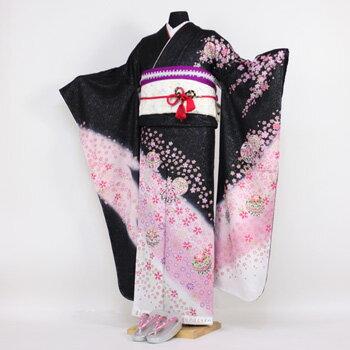 振袖 レンタル 成人式 セット20点フルセット「黒 ブラック ピンク 桜 鞠」成人式から結婚式やフォーマルまで 着物 kimono フリソデ ふりそで rental れんたる せいじんしき セイジンシキ バッグ bag