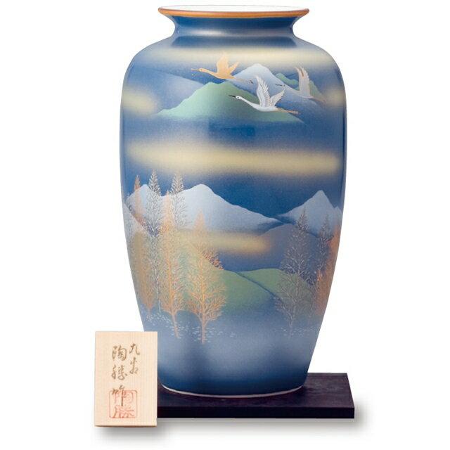 【クタニヤキ】10号花瓶 深山に双鶴