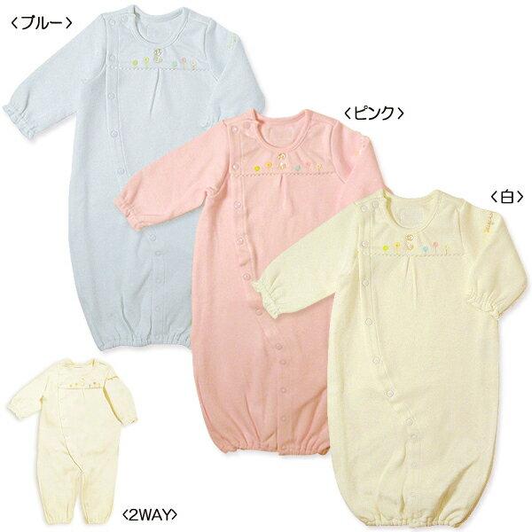 MIKIHOUSE FIRST(ミキハウスファースト)のベビー服 ♪『あったか綿素材のツーウェイオール (50cm-60cm)』♪日本製綿100%の起毛素材ドレスタイプカバーオールタイプと2通りに着られる