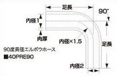 最強の SAMCO サムコ 燃料異経レデューサーエルボウホース HCB60>50 45>38  40PRE904538