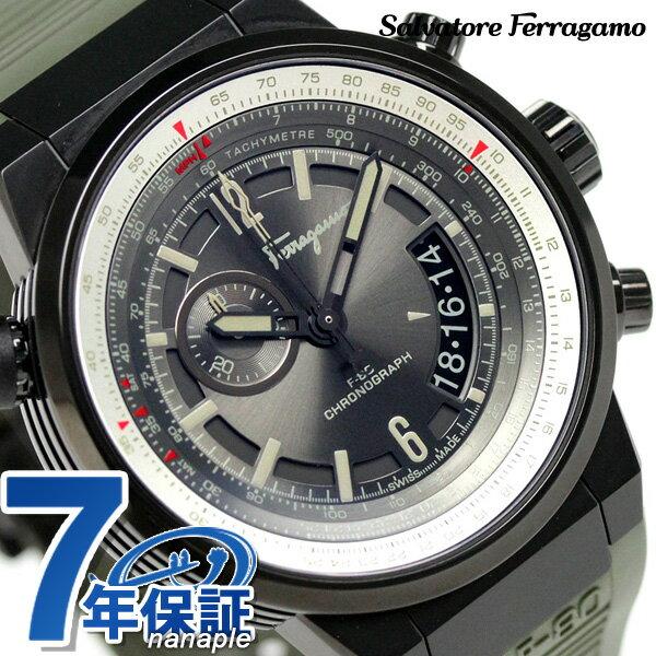 フェラガモ エフエイティ パイロット クロノグラフ 腕時計 FQ2010013 Salvatore Ferragamo グレー×カーキ