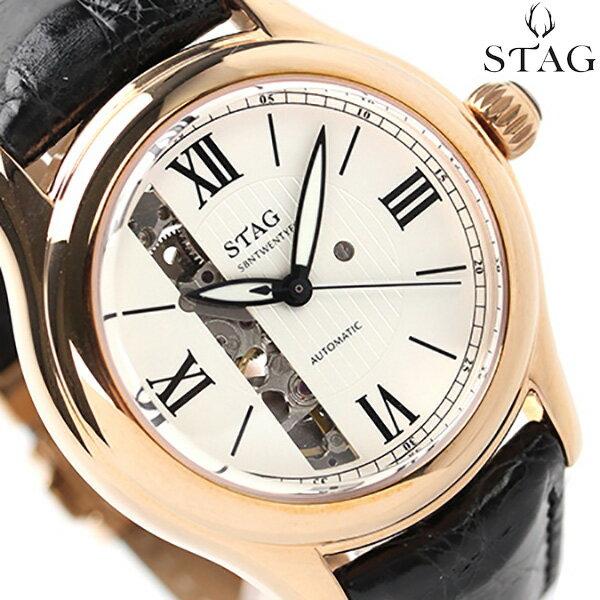 スタッグ 自動巻� 日本製 S8NTWENTYFOUR オープン�ート STG003P2 STAG メンズ 腕時計 ホワイト×ブラック レザーベルト