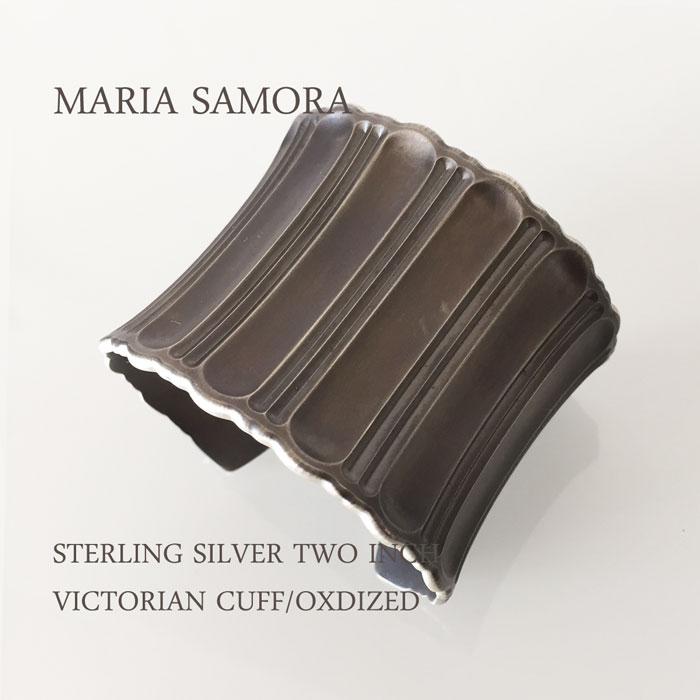 マリア サモラ シルバー ワイド バングル MARIA SAMORA STERLING SILVER TWO INCH VICTORIAN CUFF BANGLE/OXIDIZED