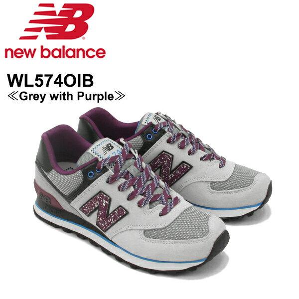 【送料無料】ニュー バランス(New Balance) WL574/574 ランニング スニーカー ≪WL574OIB/Grey with Purple≫シューズ/レディース/女性用【楽ギフ_包装選択】[CC]