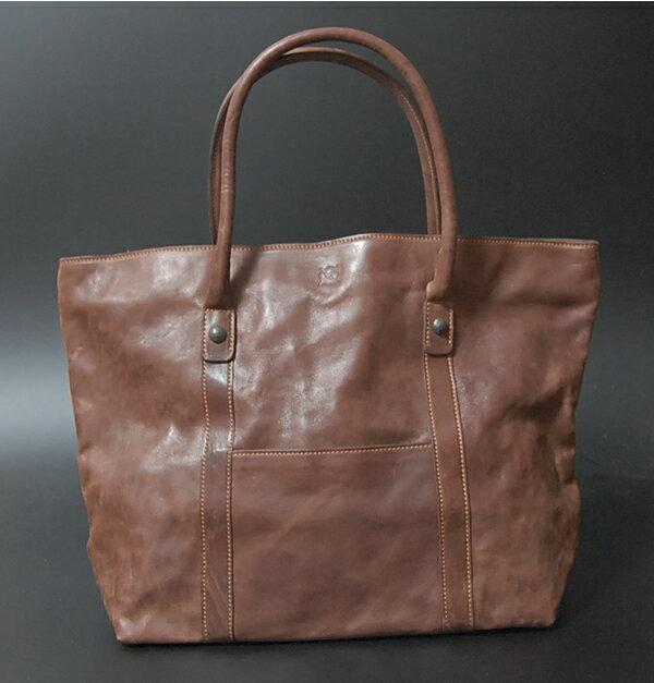 馬革・ホースレザー ショルダーバッグ・トートバッグ ブラウン イタリア製 本革レザー アンティーク加工 イタリア職人によるハンドメイド!OxiDe イタリア・イタリー製 メンズ・紳士・男性・女性・男女兼用 バッグ 鞄