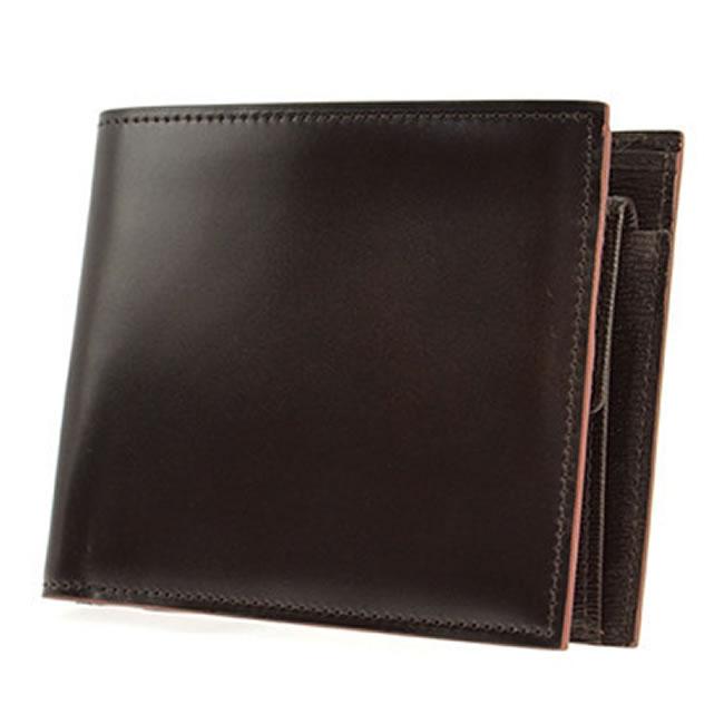 コードバン 二つ折り財布 小銭入れあり 財布 メンズ 二つ折り 水染めコードバン コードバン財布 カード4枚 チョコ 馬革 本革 レザー 紳士 男性 用  父の日・誕生日・クリスマス・バレンタイン ギフト