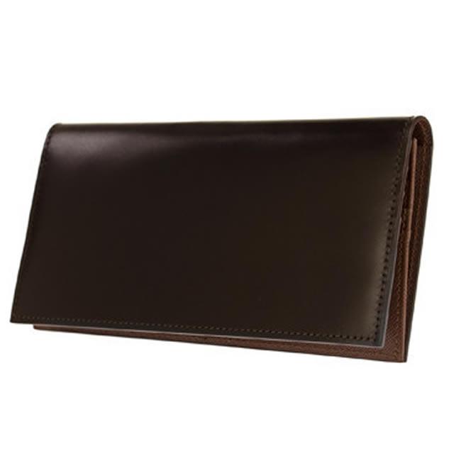 コードバン 長財布 小銭入れあり メンズ 財布 ロングウォレット 水染めコードバン コードバン財布 カード10枚 チョコ 馬革 本革 レザー 紳士 男性用 サイフ・さいふ 父の日・誕生日・クリスマス・バレンタイン ギフト