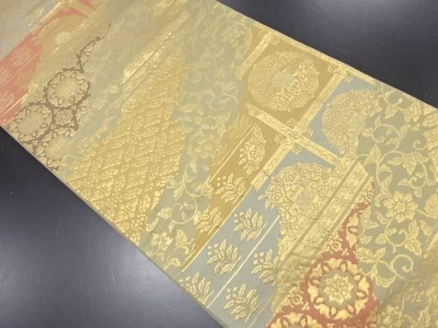 本金箔華紋更紗模様織り出し袋帯【リサイクル】【中古】