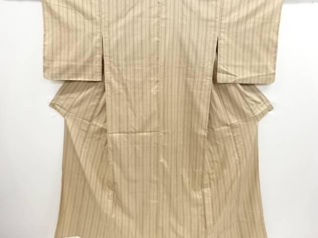 縞織り出し手織り節紬単衣着物【リサイクル】【中古】