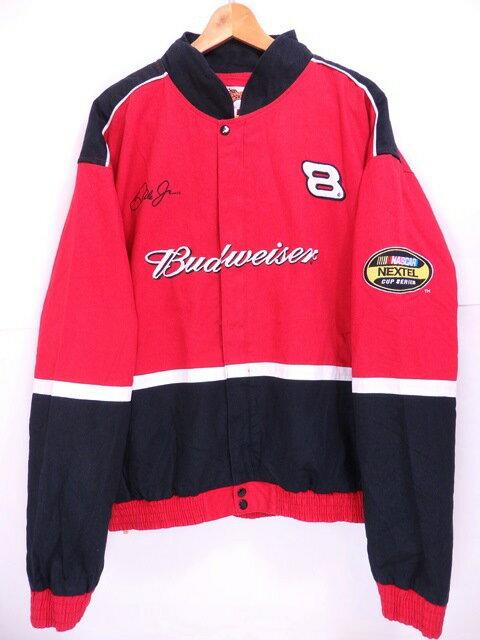 WINNERS CIRCLE Budweiser NASCAR Racing Jacket #18 XXL 赤黒 ウィナーズサイクル バドワイザー ナスカー レーシングジャケット 【中古】
