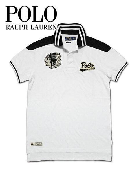 """【送料無料】【あす楽対応】【楽ギフ_包装】【メンズ ポロシャツ・ヴィンテージブラック×ホワイト】Polo Ralph Laurenポロ ラルフローレン【S M L XL】""""インディアンワッペンがポイントのヴィンテージポロシャツ"""""""