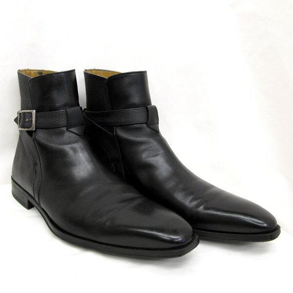 マグナーニ 靴 シューズ ブーツ ジョッパーブーツ 型押し ブラック ショートブーツ 12135 40 1/2 スペイン製 レザー ストラップ モンクストラップ レザーブーツ メンズ 東大阪店 【USED】