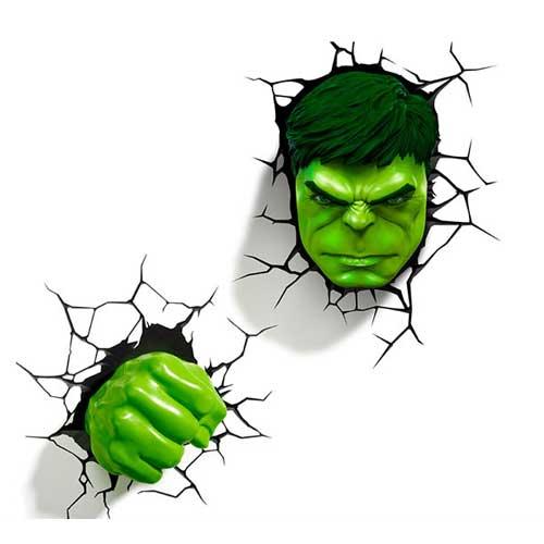 Hulk Face & Fist SET 3D Deco Light ハルク 3Dデコライト フェイス フィスト セット ひび割れステッカー ウォールライト LED 照明 壁ライト 立体 アメコミ MARVEL マーベル コードレス おしゃれ インテリア 雑貨 アベンジャーズ AVENGERS