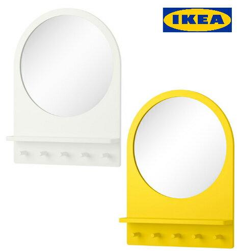 IKEA SALTROD ミラー シェルフ&フック付きホワイト イエローイケア ウォールミラー【smtb-ms】60297003-80305078