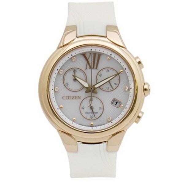海外モデル CITIZEN シチズン 時計 レディース 腕時計 エコドライブ(ソーラー) ホワイト×ローズゴールド クロノグラフ ラバー FB1313-03A ビジネス 女性 ブランド 時計 誕生日 お祝い クリスマスプレゼント ギフト お洒落
