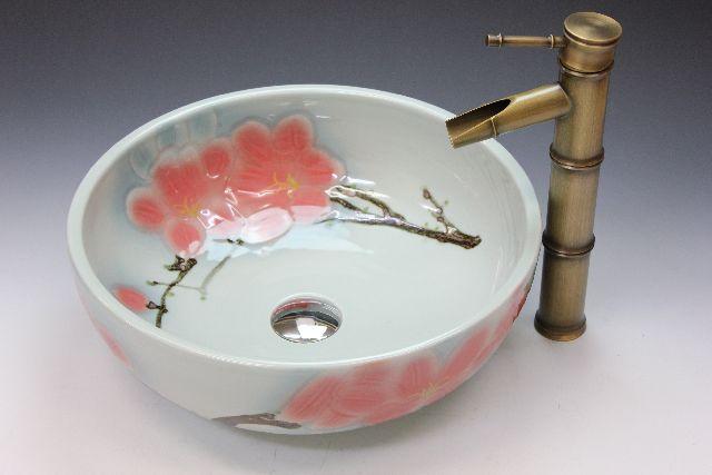 洗�ボウル(洗�ボール 手洗�鉢)+排水栓�排水Sトラップ セット ��ゃれ 洗�器 洗�� 洗�化粧� 手洗�器 手洗�ボウル 陶器 洗�ボウル  KORS-1440F