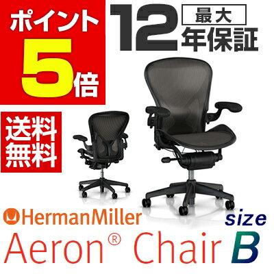 【Aeron Chairs】アーロンチェア グラファイトカラーベース ポスチャーフィットフル装備 Bサイズ(クラシックカーボン) オフィスチェア ワークチェア パソコンチェア hermanmiller ハーマンミラー AE113AWB PJG1BBBK3D01