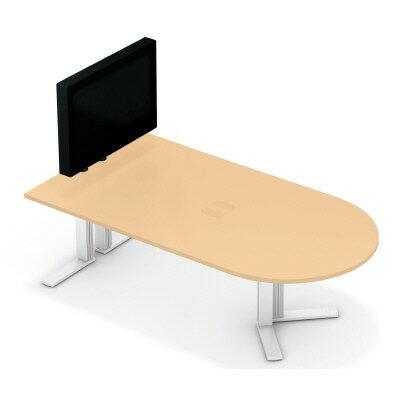 PLUS(プラス)オフィス家具 XF TYPE-L テレビスタンド付ミーティングテーブル W(幅)2400 D(奥行き)1200 H(高さ)1313