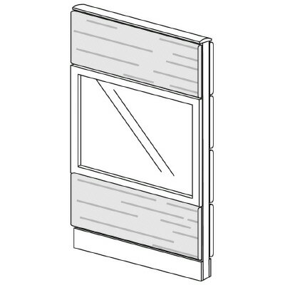 PLUS(プラス)オフィス家具 LFパネル ガラス・木質コンビパネルセット パネル3段 H1325 W(幅)700 D(奥行き)60 H(高さ)1325
