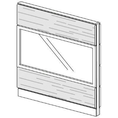 PLUS(プラス)オフィス家具 LFパネル ガラス・木質コンビパネルセット パネル3段 H1325 W(幅)1100 D(奥行き)60 H(高さ)1325