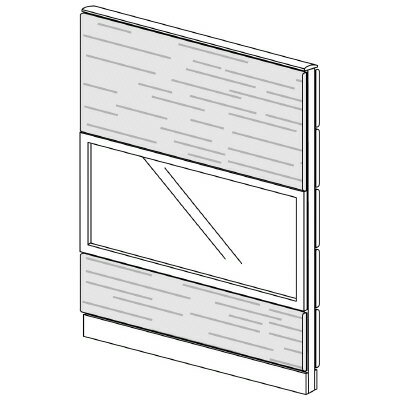PLUS(プラス)オフィス家具 LFパネル ガラス・木質コンビパネルセット パネル3段 H1625 W(幅)1100 D(奥行き)60 H(高さ)1625